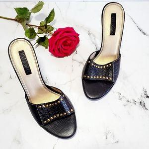 Unisa Black Leather Studded Heeled Slides